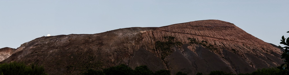 vulcano, the crater and the moon